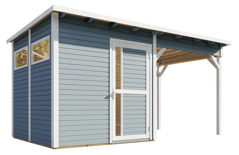 Gartenhaus Kiel 02 mit Anbaudach inkl. Fußboden und Dachpappe, Hellgrau lackiert - 19 mm Elementgartenhaus, Nutzfläche: 5,10 m², Flachdach