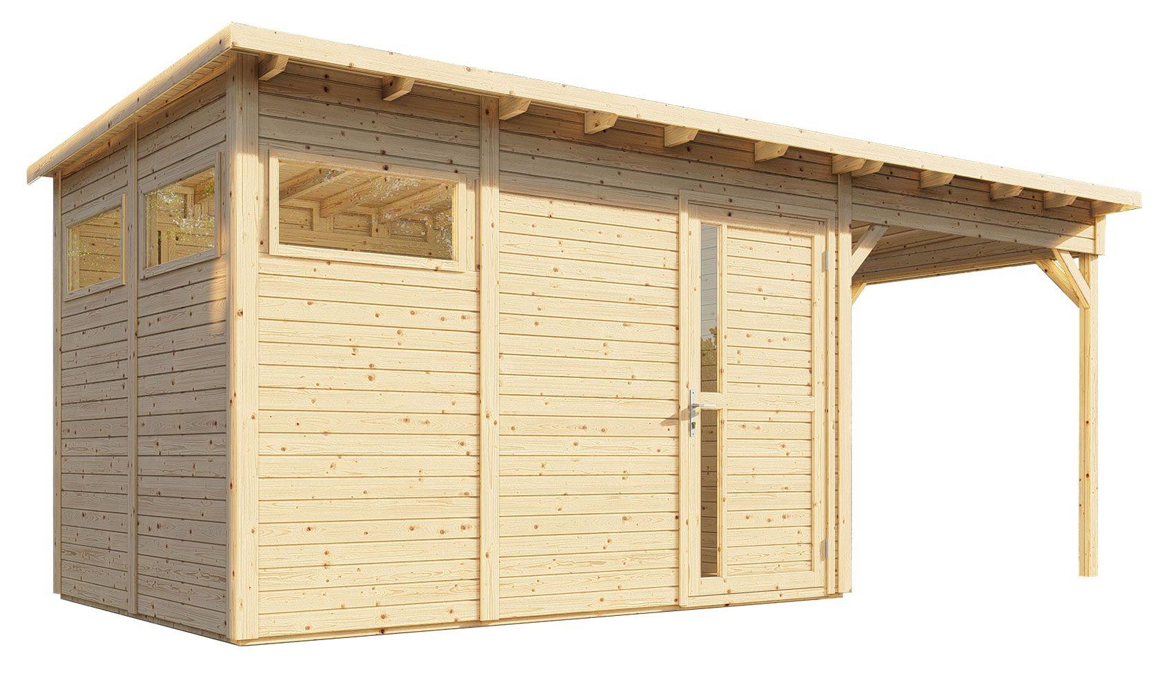Gartenhaus Kiel 03 mit Anbaudach inkl. Fußboden und Dachpappe, Naturbelassen - 19 mm Elementgartenhaus, Nutzfläche: 7,70 m², Flachdach