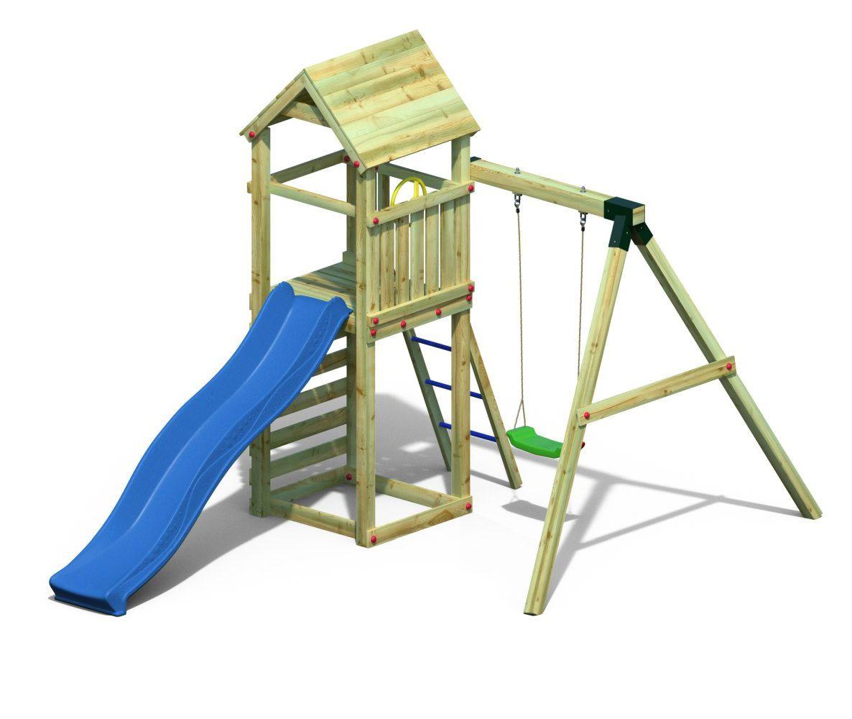 Spielturm 2 inkl. Wellenrutsche und Einzelschaukel FSC®