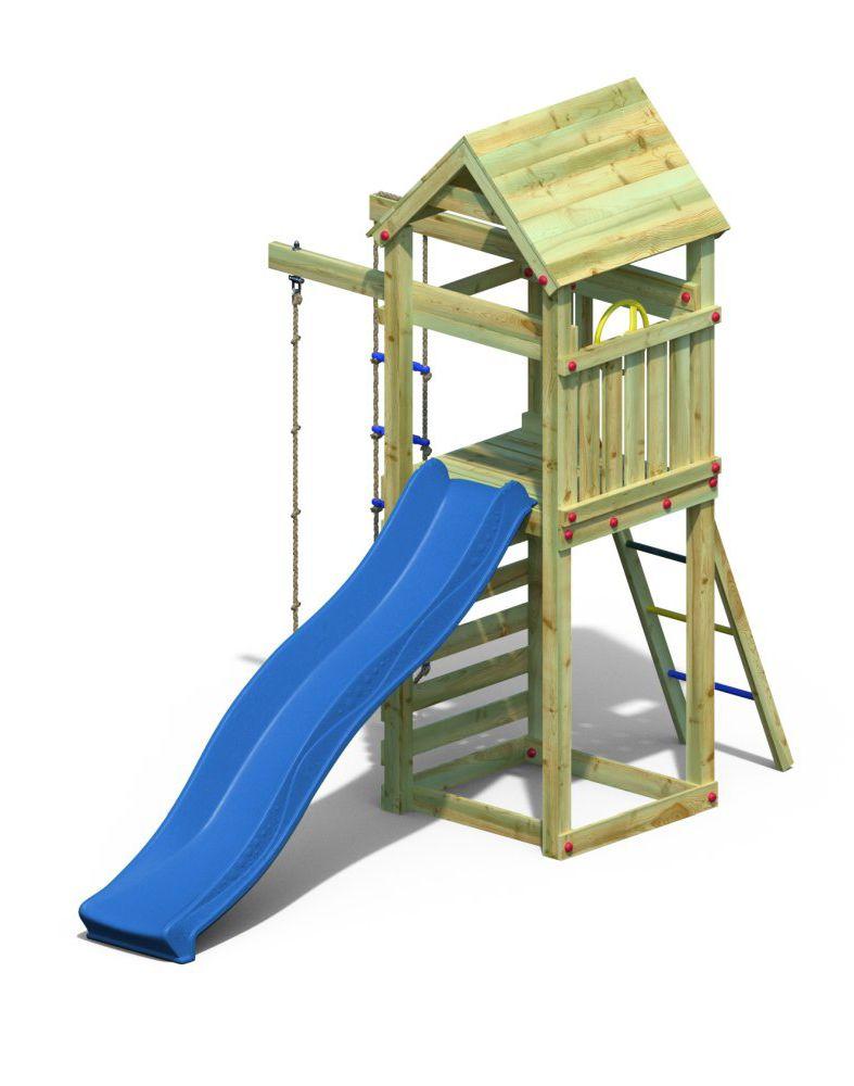 Spielturm 4 inkl. Wellenrutsche, Strickleiter und Kletterseil FSC®