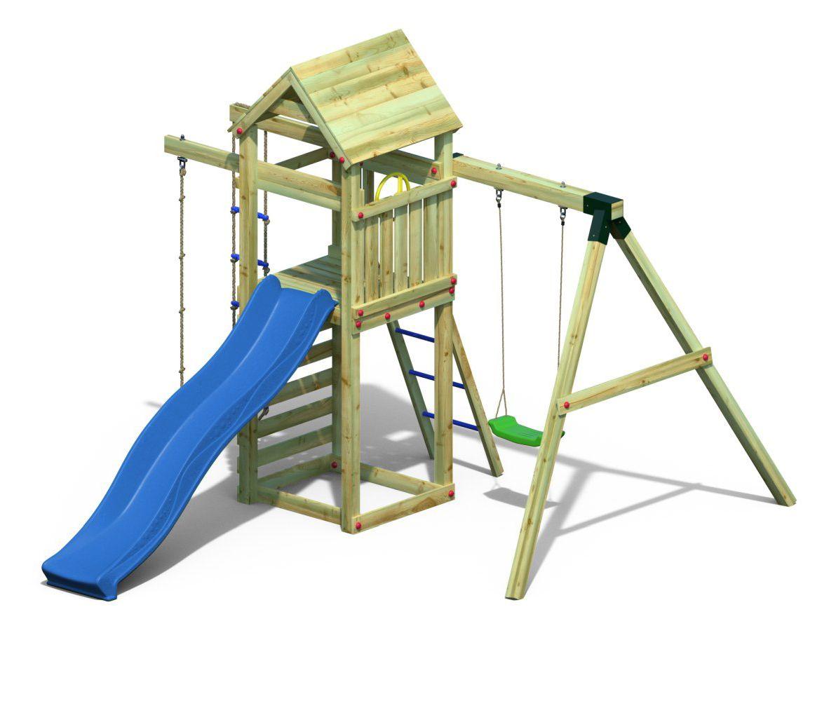 Spielturm 5 inkl. Wellenrutsche, Einzelschaukel, Strickleiter und Kletterseil FSC®