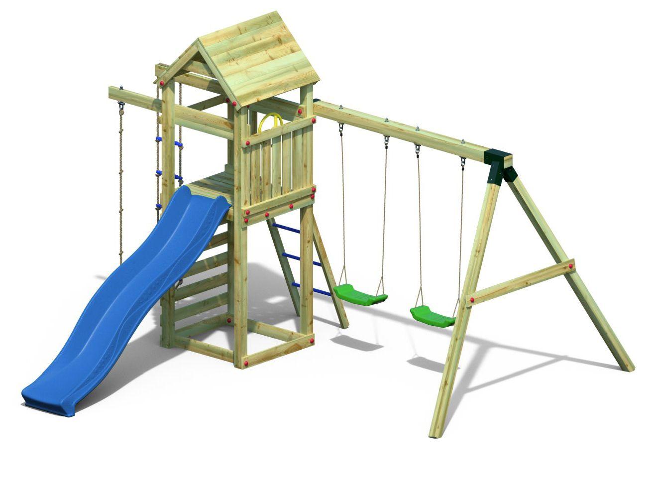Spielturm 6 inkl. Wellenrutsche, Doppelschaukel, Strickleiter und Kletterseil FSC®