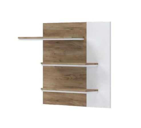 Hängeregal / Wandregal Manase 08, Farbe: Eiche Braun / Weiß Hochglanz - 82 x 108 x 20 cm (H x B x T)