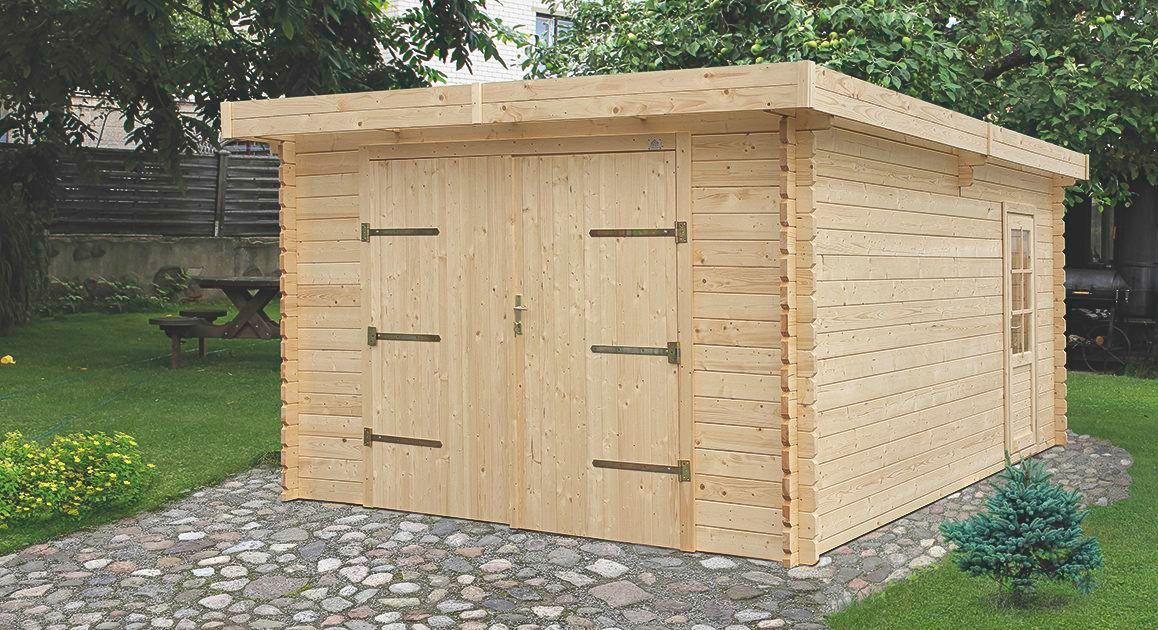 Holzgarage T19 - 44 mm Blockbohlenhaus, Grundfläche: 21,80 m², Flachdach