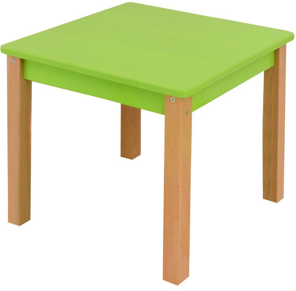 Kindertisch Laurenz Buche Vollholz massiv natur / grün - Abmessungen: 47 x 50 x 50 cm (H x B x T)