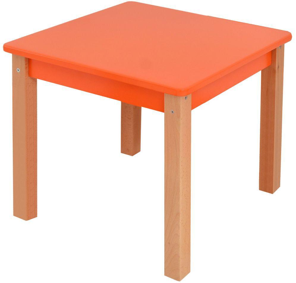 Kindertisch Laurenz Buche Vollholz massiv natur / orange - Abmessungen: 47 x 50 x 50 cm (H x B x T)