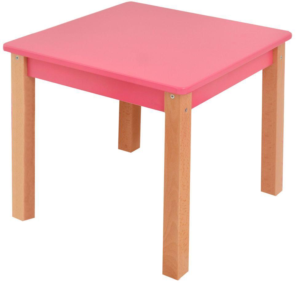 Kindertisch Laurenz Buche Vollholz massiv natur / pink - Abmessungen: 47 x 50 x 50 cm (H x B x T)