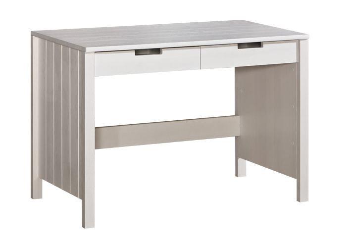 Schreibtisch Milo 16, Farbe: Weiß, Kiefer Vollholz massiv - Abmessungen: 77 x 110 x 60 cm (H x B x T)