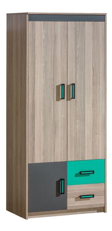 Jugendzimmer - Drehtürenschrank / Kleiderschrank Marcel 01, Farbe: Esche Türkis / Grau / Braun - Abmessungen: 187 x 80 x 51 cm (H x B x T)