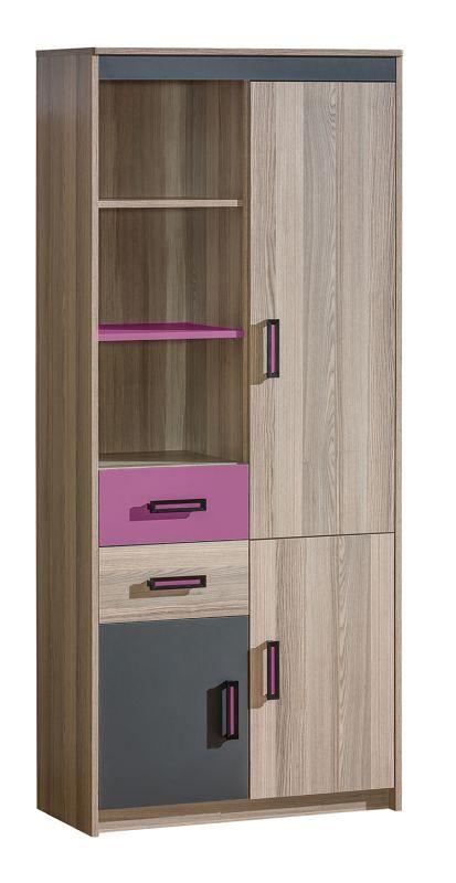 Jugendzimmer - Schrank Marcel 03, Farbe: Esche Rosa / Grau / Braun - Abmessungen: 187 x 80 x 39 cm (H x B x T)
