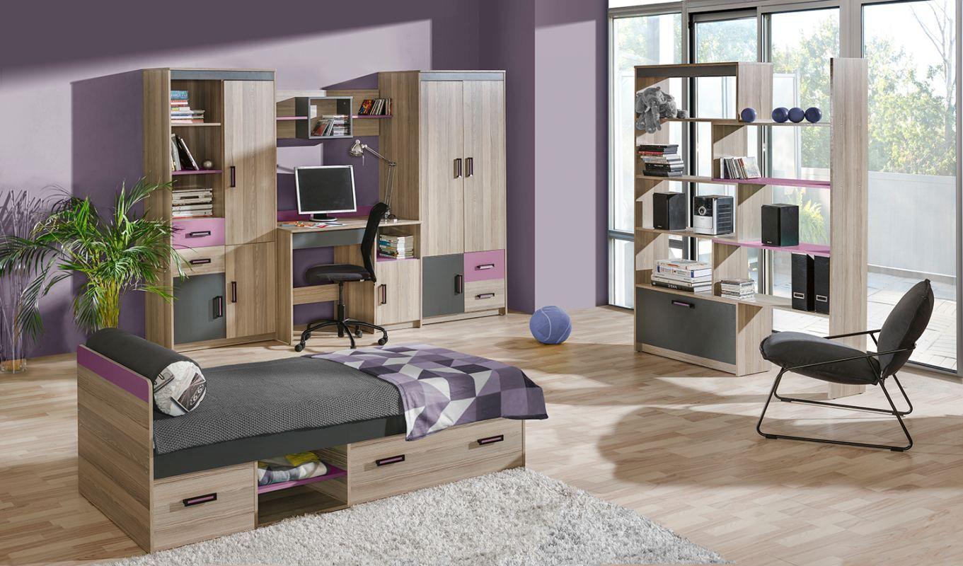 Jugendzimmer Komplett - Set J Marcel, 6-teilig, Farbe: Esche Rosa / Grau / Braun