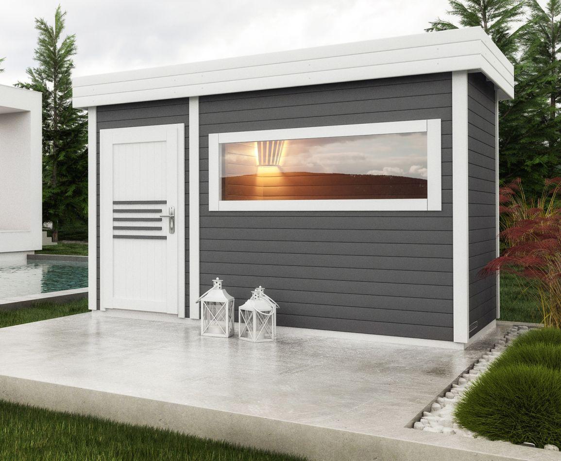 Saunahaus Lut 40 mm mit großem Panoramafenster, Farbe: Anthrazit / Weiß - Außenmaße (B x T): 354 x 204 cm