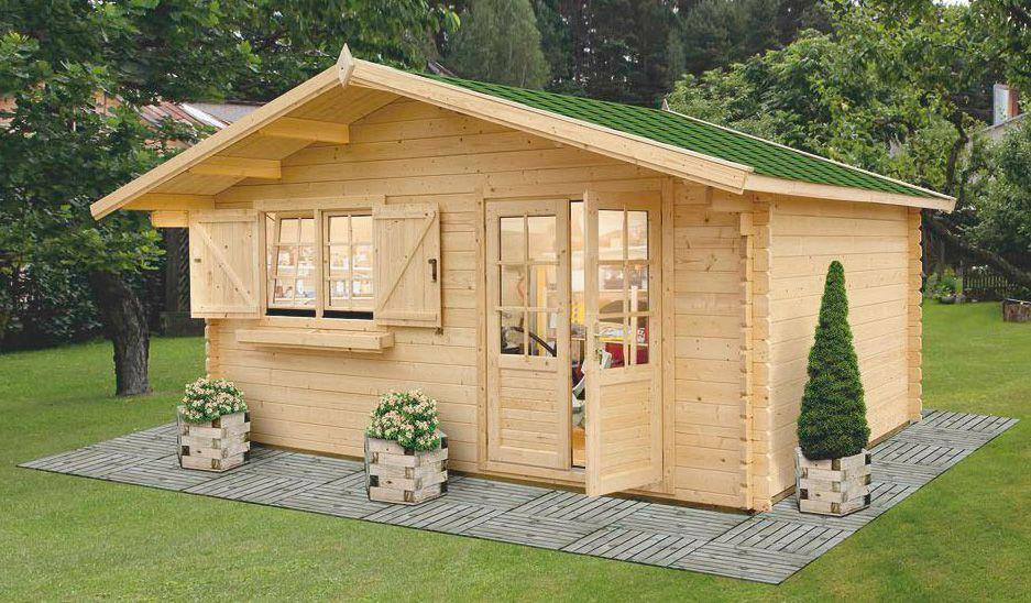Gartenhaus SA15 - 44 mm Blockbohlenhaus, Grundfläche: 17,80 m², Satteldach