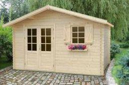 Gartenhaus R12 - 44 mm Blockbohlenhaus, Grundfläche: 13,90 m², Satteldach