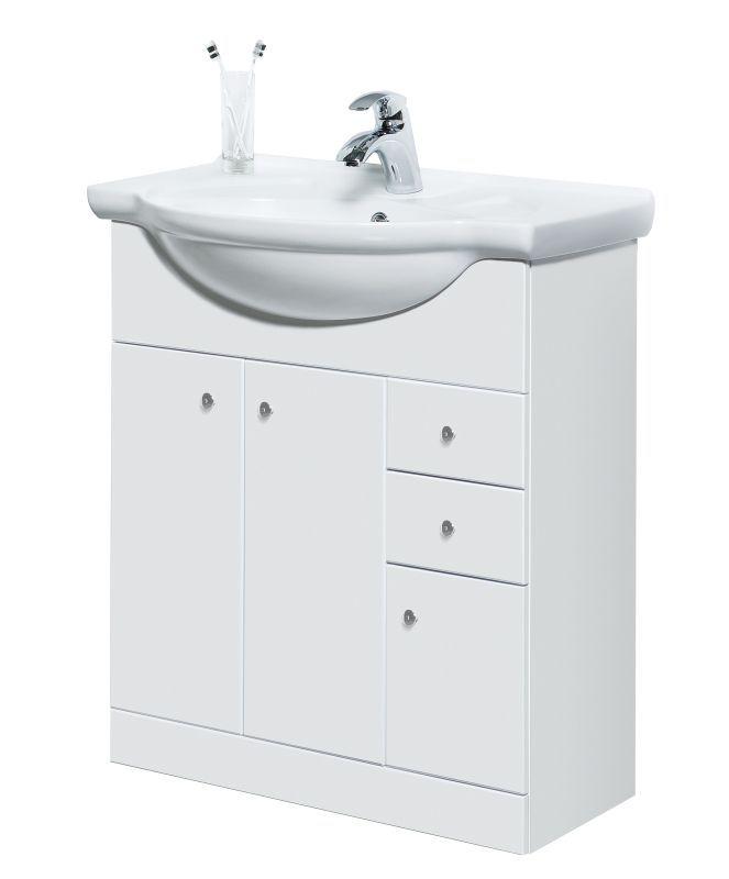 Waschtischunterschrank Hapur 13, Farbe: Weiß glänzend – 81 x 76 x 48 cm (H x B x T)