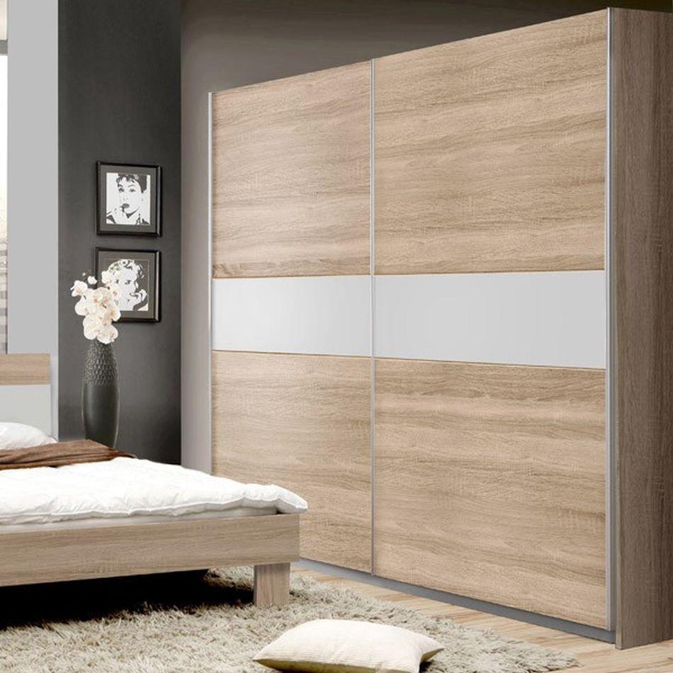 Schlafzimmer - Schiebetürenschrank / Kleiderschrank Abuko 18, Farbe: Sonoma  Eiche / Weiß - Abmessungen: 18 x 18 x 18 cm (H x B x T)