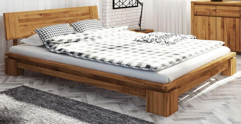 Doppelbett Tasman 04 Wildeiche massiv geölt - Liegefläche: 160 x 200 cm (B x L)