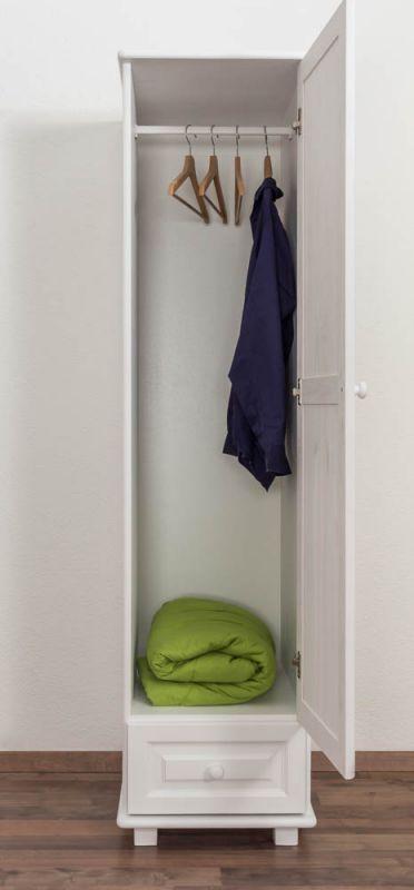 Kleiderschrank Kiefer Vollholz massiv weiß lackiert 001 - Abmessung 190 x 47 x 60 cm (H x B x T)