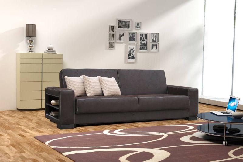 Sofa Matino in dunkelbraun mit Bettfunktion und Staukasten – Abmessungen: 233 x 90 cm (B x T)