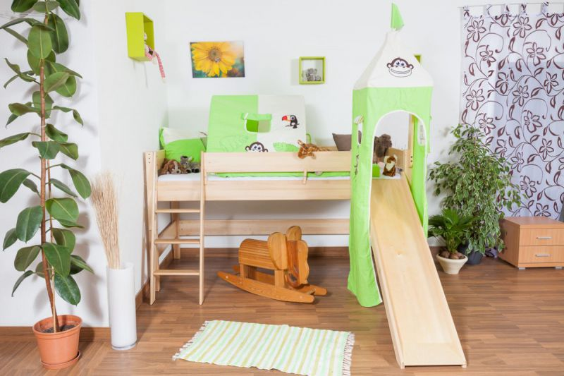 Hochbett mit Rutsche und Turm - Buche natur Massivholz 90x200 cm