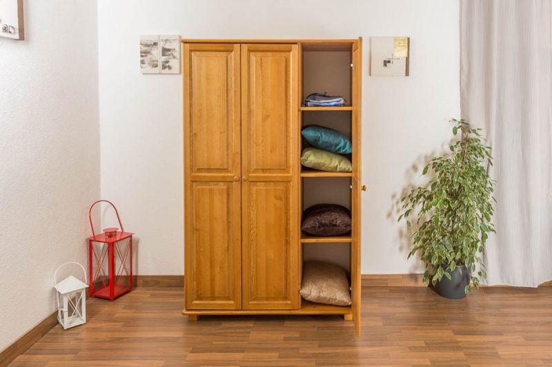 Kleiderschrank Massivholz Erlefarben 016 - Abmessung 190 x 120 x 60 cm (H x B x T)