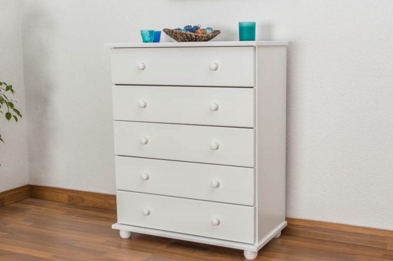 Kommode Kiefer massiv Vollholz weiß lackiert Junco  136 - Abmessung 100 x 80 x 42 cm