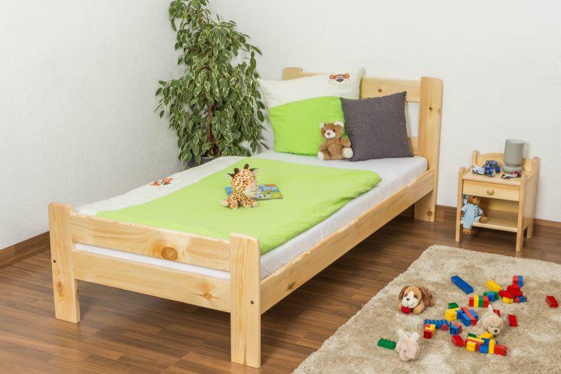 Kinderbett /Jugend Kiefer Vollholz massiv natur A26, inkl. Lattenrost - Abmessung 90 x 200 cm