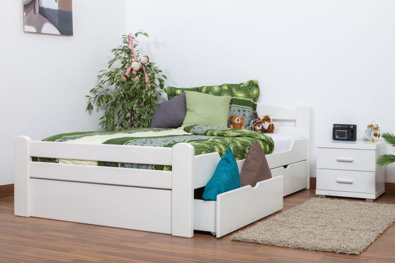 """Einzelbett / Gästebett """"Easy Premium Line"""" K4 inkl. 2 Schubladen und 1 Abdeckblende, 120 x 200 cm Buche Vollholz massiv weiß lackiert"""