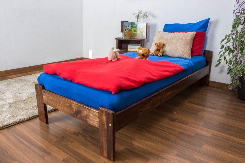Kinderbett / Jugendbett Kiefer Vollholz massiv Nussfarben A8, inkl. Lattenrost - Abmessungen: 80 x 200 cm