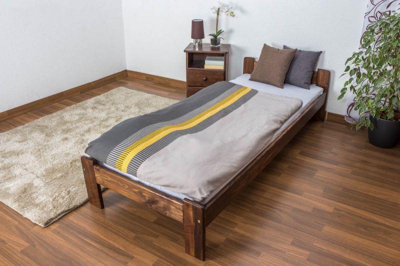 Einzelbett / Gästebett Kiefer Vollholz massiv Nussfarben A8, inkl. Lattenrost - Abmessungen: 80 x 200 cm