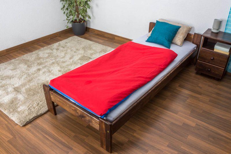 Futonbett / Massivholzbett Kiefer Vollholz massiv Nussfarben A8, inkl. Lattenrost - Abmessungen: 80 x 200 cm