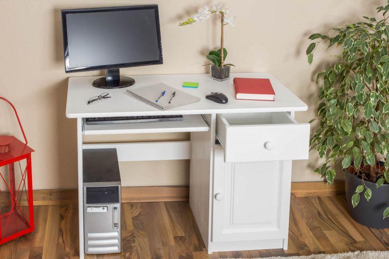 Schreibtisch Kiefer massiv Vollholz weiß Junco 190 - Abmessung 75 x 110 x 55 cm
