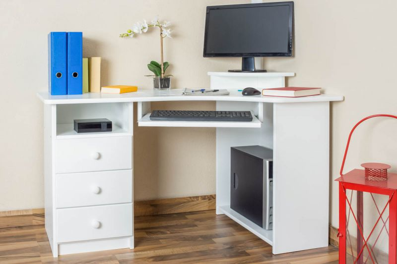 Schreibtisch Kiefer massiv Vollholz weiß Junco 185 - Abmessung 75 x 138 x 83 cm
