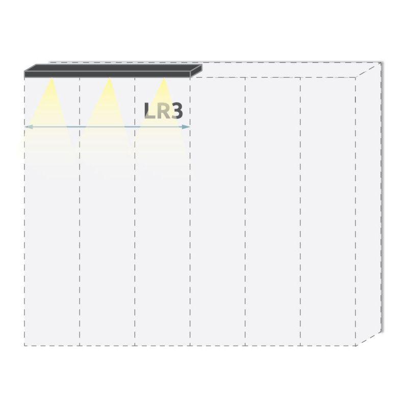 Oberer LED-Rahmen für Drehtürenschrank / Kleiderschrank Siumu und Anbaumodule, Farbe: Beige - Breite: 137 cm