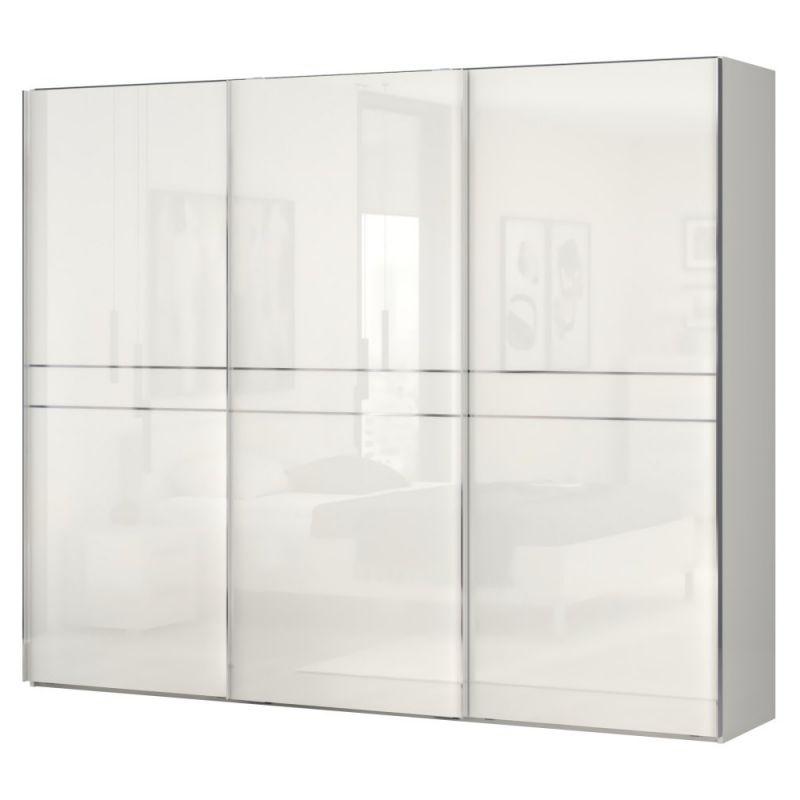 Schwebetürenschrank / Kleiderschrank Siumu 09, Farbe: Beige / Beige Hochglanz - 224 x 272 x 61 cm (H x B x T)