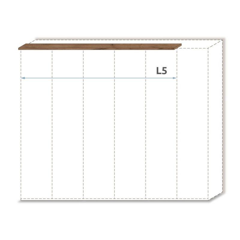 Oberer Rahmen für Drehtürenschrank / Kleiderschrank Manase 15 und Anbaumodule, Farbe: Eiche Braun - Breite: 252 cm