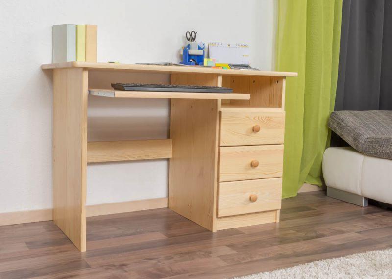 Schreibtisch Kiefer massiv Vollholz natur Junco 189 - Abmessung 75 x 110 x 55 cm (H x B x T)