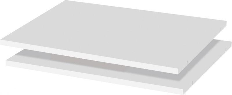 Fachboden für zweitürigen Kleiderschrank und zweitüriges Anbaumodul Manase, 2er Set, Farbe: Weiß - 98 x 52 cm (B x T)