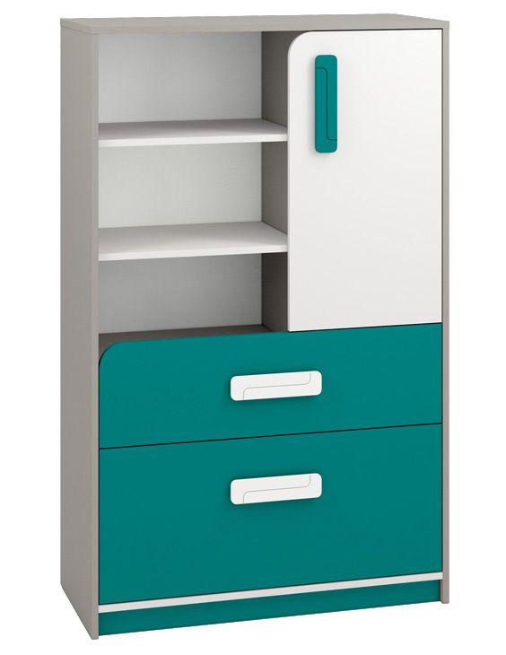 Kinderzimmer - Kommode Renton 07, Farbe: Platingrau / Weiß / Blaugrün - Abmessungen: 140 x 92 x 40 cm (H x B x T), mit 1 Tür, 2 Schubladen und 6 Fächern
