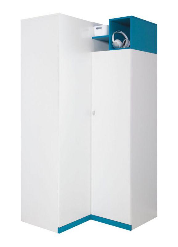 """Jugendzimmer - Drehtürenschrank / Eckkleiderschrank """"Geel"""" 01, Weiß / Türkis - Abmessungen: 195 x 95 x 95 cm (H x B x T)"""