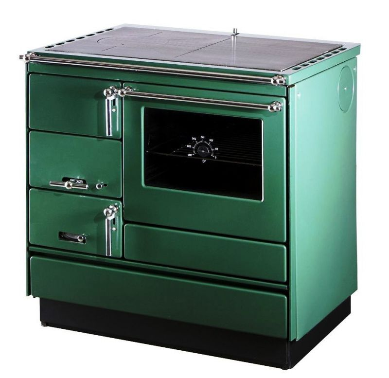 Festbrennstoff-Herd 6-10 kW mit Glas-Keramikplatte und Backrohr - Ausführung: Grün rechts mit verchromten Griffen
