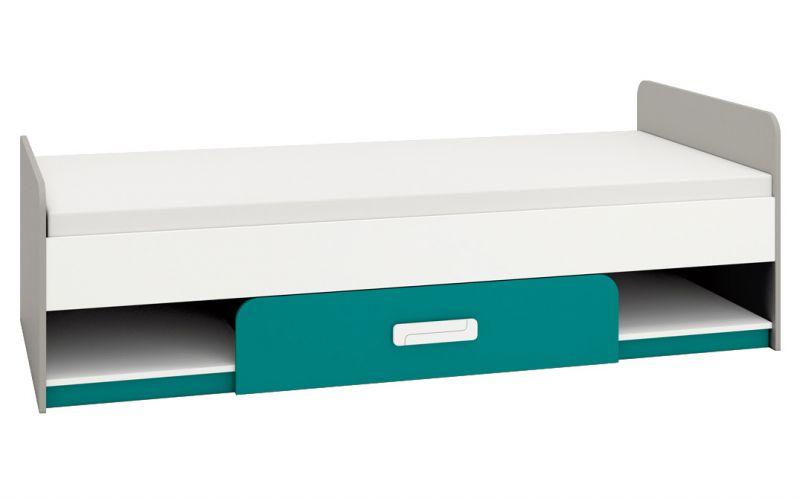 Kinderbett / Jugendbett Renton 12, Farbe: Platingrau / Weiß / Blaugrün - Liegefläche: 90 x 200 cm (B x L), mit 1 Schublade und 2 Fächern