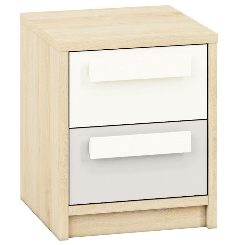 Jugendzimmer - Nachtkästchen Greeley 13, Farbe: Buche / Weiß / Hellgrau - Abmessungen: 48 x 40 x 40 cm (H x B x T), mit 2 Schubladen