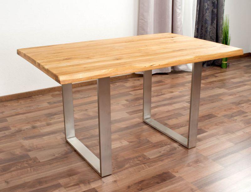Esstisch Wooden Nature 412 Eiche massiv geölt, Tischplatte rustikal - 140 x 90 cm (B x T)