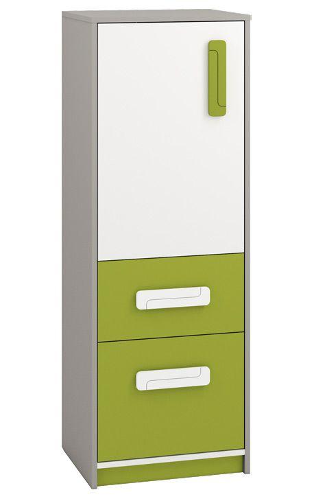 Kinderzimmer - Kommode Renton 08, Farbe: Platingrau / Weiß / Grün - Abmessungen: 140 x 50 x 40 cm (H x B x T), mit 1 Tür, 2 Schubladen und 3 Fächern