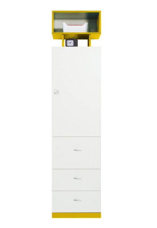 """Jugendzimmer - Schrank """"Geel"""" 25, Weiß / Gelb - Abmessungen: 195 x 45 x 40 cm (H x B x T)"""