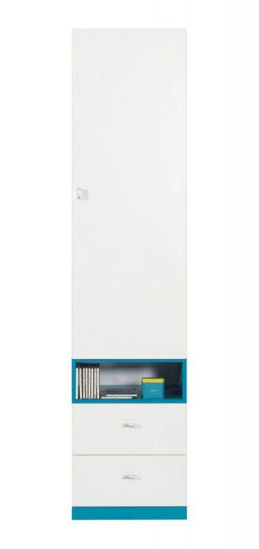 """Jugendzimmer - Schrank """"Geel"""" 03, Weiß / Türkis - Abmessungen: 195 x 45 x 40 cm (H x B x T)"""
