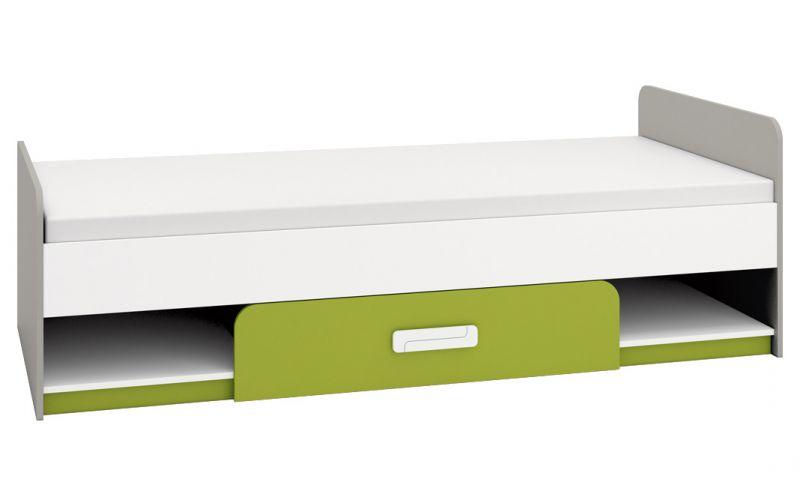 Kinderbett / Jugendbett Renton 12, Farbe: Platingrau / Weiß / Grün - Liegefläche: 90 x 200 cm (B x L), mit 1 Schublade und 2 Fächern
