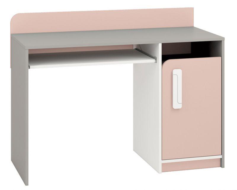 Kinderzimmer - Schreibtisch Renton 11, Farbe: Platingrau / Weiß / Puderrosa - Abmessungen: 91 x 120 x 52 cm (H x B x T), mit 1 Tür und 3 Fächern
