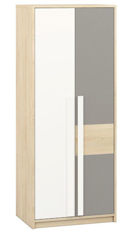 Jugendzimmer - Drehtürenschrank / Kleiderschrank Greeley 02, Farbe: Buche / Weiß / Platingrau - Abmessungen: 199 x 80 x 55 cm (H x B x T), mit 2 Türen und 6 Fächern